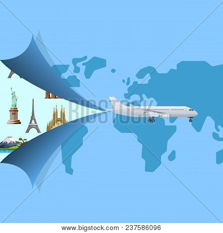 Worldwide air traveling poster with jet airplane. Commercial airlines, comfortable air transportation and logistics, travel agency advertising. Plane on background of world map vector illustration stock photo
