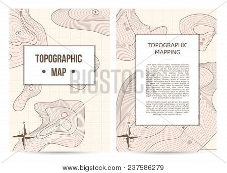 Topographic mapping company banners with space for text. Abstract lines showing elevation on ground background, geography science vector illustration. Cartography concept with schematic nature relief. stock photo