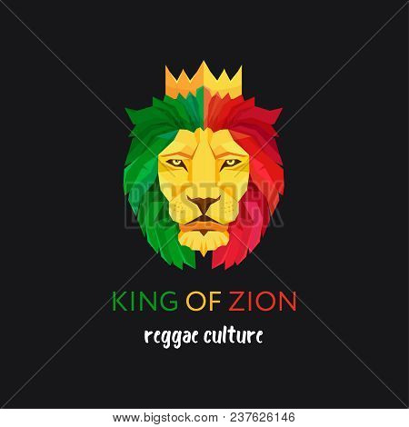 Lion head with crown. King of Zion. Symbol of the Rastafarian subculture. Flag colors of Jamaica stock photo