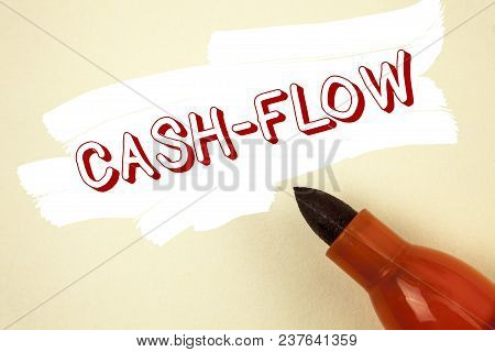 Handwriting text writing Cash-Flow. Concept meaning Virtual movement of money by company finance department statistics written Painted background Marker next to it. stock photo