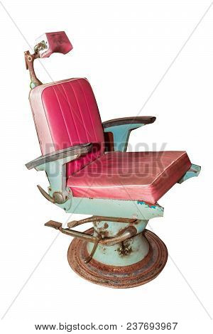 old vintage red chair barber isolated on white background wit clipping path stock photo