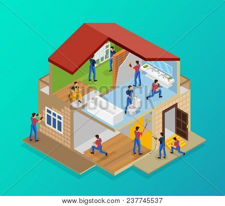 Isometric house renovation template with workers laying tiles flooring laminate painting walls repairing threshold installing windows plumbing vector illustration stock photo
