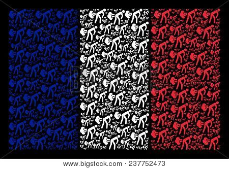 French State Flag pattern made of fart gases design elements. Vector fart gases design elements are united into conceptual France flag illustration on a black background. stock photo