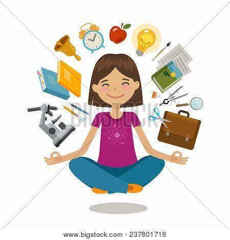 School, college concept. Funny student sitting in lotus pose. Vector illustration isolated on white background stock photo