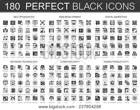 180 seo optimization, web development, digital marketing, network technology, cyber security, human productivity classic black mini concept icons and infographic symbols set stock photo