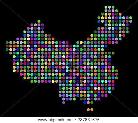 Colored Dotted China Map. Vector geographic map in bright colors on a dark background. Color vector mosaic of China Map constructed of regular filled circles. stock photo
