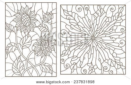 Set of contour stained glass illustrations with flowers, sunflowers and abstract flower, dark outlines on white background stock photo