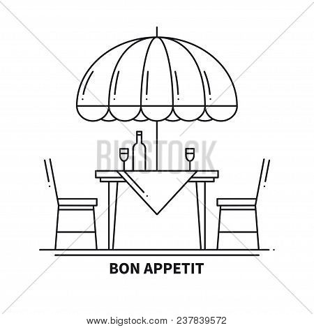 Restaurant Cafe Thin Line Icon. Table and Chair Outside. Bon Appetit. Outdoors. Street Cafe Restaurant Sign. Food Service. Patio Furniture Symbol stock photo