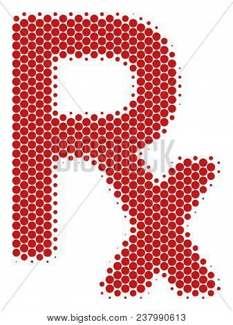 Halftone dot Rx Symbol icon. Pictogram on a white background. Vector concept of Rx symbol icon combined of circle pixels. stock photo