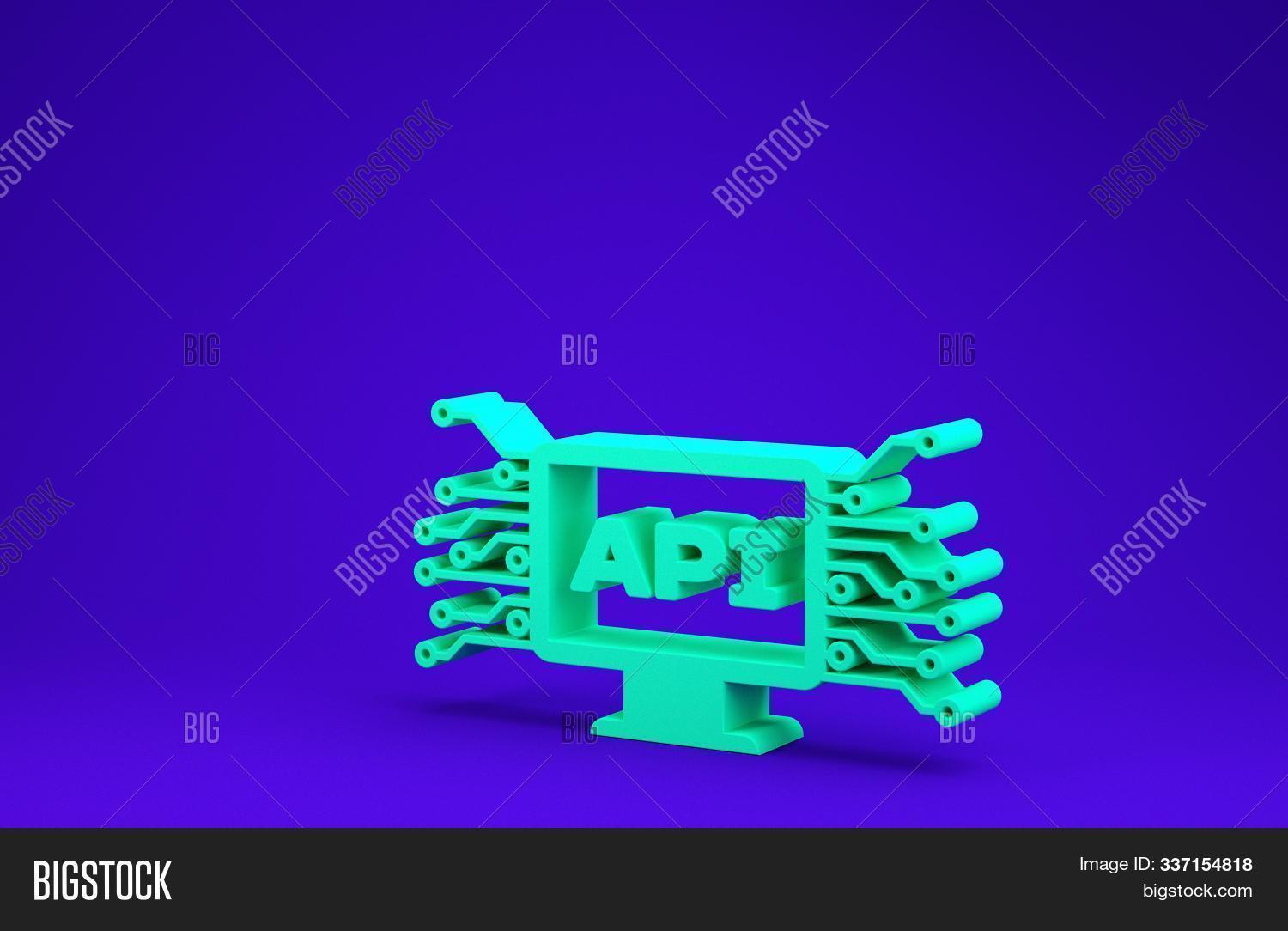 Green Computer api interface icon isolated on blue background. Application programming interface API technology. Software integration. Minimalism concept. 3d illustration 3D render