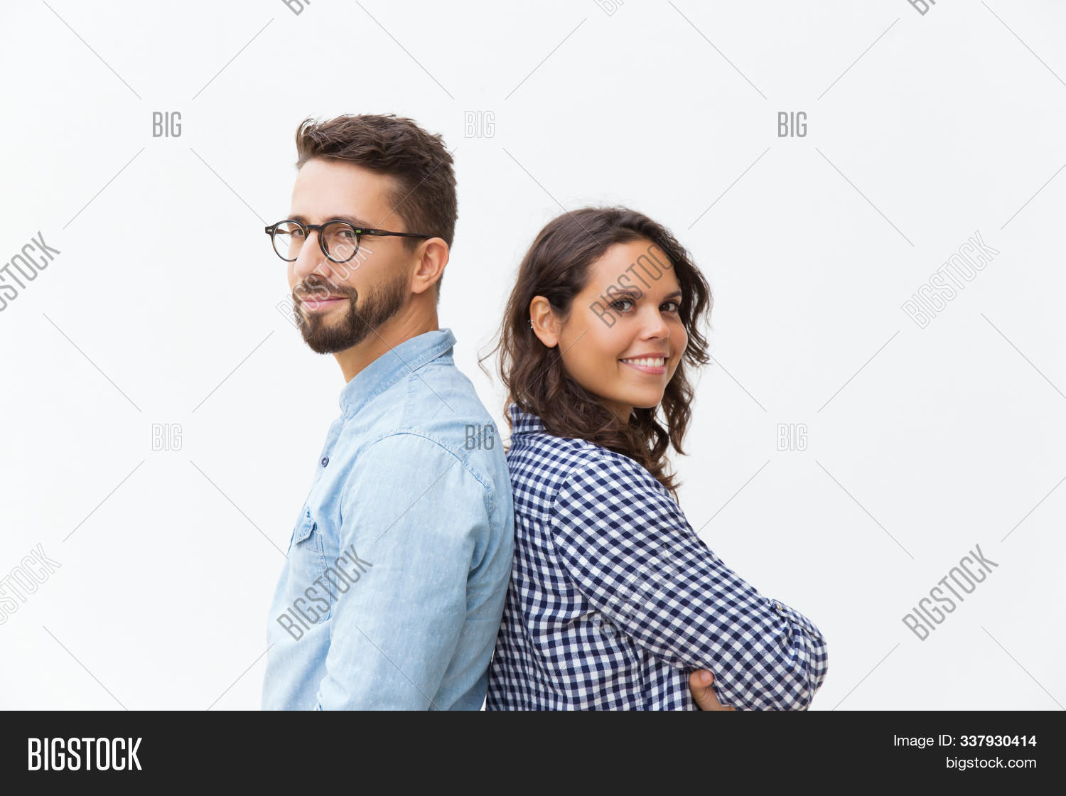 Caucasian,Latin,adult,arm,attractive,back,back-to-back,background,beautiful,camera,casual,cheerful,close,communication,concept,couple,crossed,female,folded,friend,friendship,glasses,guy,hand,handsome,happy,isolated,leaning,looking,male,man,model,people,portrait,posing,positive,relationship,side,smiling,standing,student,studio,support,together,two,view,white,woman,young