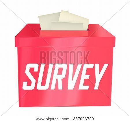 Survey Opinion Poll Answer Collection Box Cards in Slot 3d Illustration stock photo