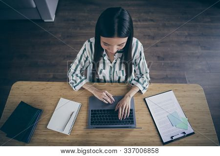Top above high angle view photo of journalist processing all the collected data and interviews to write an article about events that recently occured stock photo