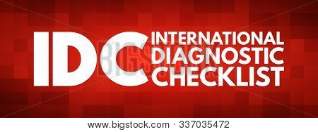 IDC - International Diagnostic Checklist acronym, business concept background stock photo