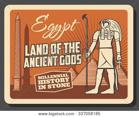 Ancient Egypt history museum and travel landmarks vintage retro poster. Vector Egypt culture tour excursions, Horus god deity, Giza and Cairo pharaoh pyramids and hieroglyphs on obelisk stock photo