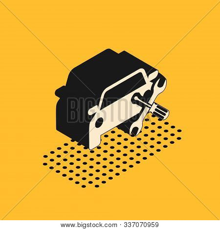 Isometric Car with screwdriver and wrench icon isolated on yellow background. Adjusting, service, setting, maintenance, repair, fixing. Vector Illustration stock photo