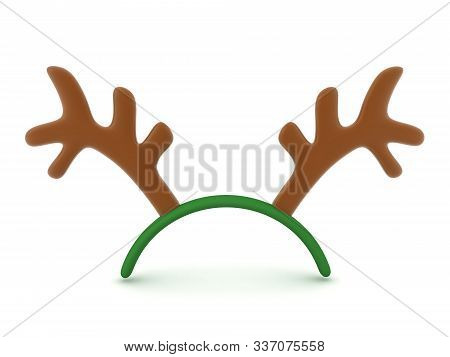 3D Rendering of cute reindeer antlers. 3D Rendering Isolated on white. stock photo