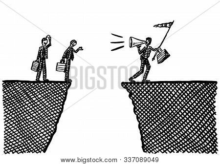 Freehand drawing of business team leader with flag in hand calling upon coworkers via megaphone to encourage them to take a leap across a ravine. Metaphor for leadership by example, doubt, dispute. stock photo