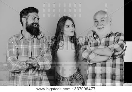 Relations group people. Choosing life partner. Senior mature bearded men competitors. She likes mature partner. Men and female threesome. Girl pretty adorable woman prefer more experienced partner stock photo
