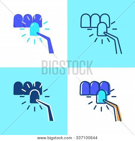 Dental veneer icon set in flat and line style stock photo