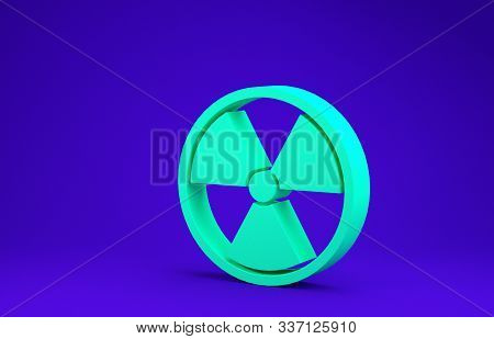 Green Radioactive icon isolated on blue background. Radioactive toxic symbol. Radiation Hazard sign. Minimalism concept. 3d illustration 3D render stock photo