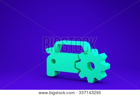 Green Car service icon isolated on blue background. Auto mechanic service. Mechanic service. Repair service auto mechanic. Maintenance sign. Minimalism concept. 3d illustration 3D render stock photo