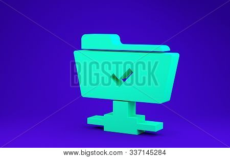 Green FTP operation successful icon isolated on blue background. Software update, transfer protocol, teamwork tool management, copy process. Minimalism concept. 3d illustration 3D render stock photo
