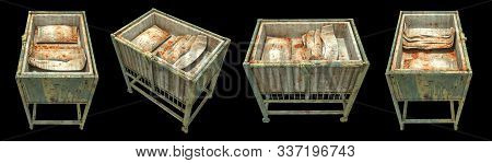 horror creepy and damage Baby cot isolated over black background with clipping path.,3D rendering. stock photo