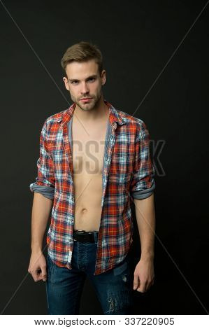 Handsome and sexy. Handsome man with bare torso dark background. Wellness and bodycare. Caucasian guy with handsome face. Male grooming. Handsome and well groomed. stock photo