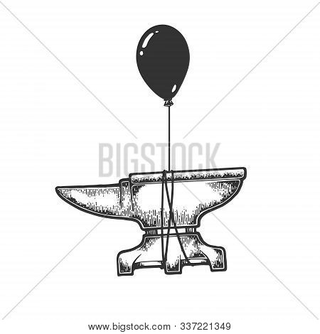 Blacksmith anvil is flying on air balloon sketch engraving vector illustration. T-shirt apparel print design. Scratch board style imitation. Black and white hand drawn image. stock photo
