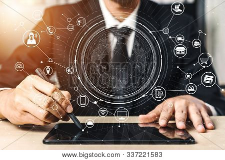 Omni channel technology of online retail business. Multichannel marketing on social media network platform offer service of internet payment channel, online retail shopping and omni digital app. stock photo