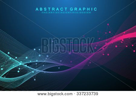 Abstract dynamic motion lines and dots background with colorful particles. Digital streaming background, wave flow. Plexus stream background. Big Data technology, vector illustration stock photo