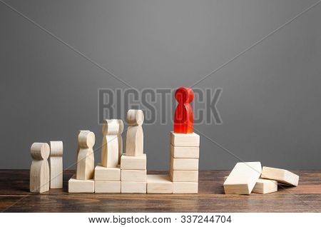 The leader makes it impossible to overthrow him and replace. Lack of a social elevator, usurpation of power. Prevention of leadership positions, corruption and nepotism. Limitation of opportunities. stock photo