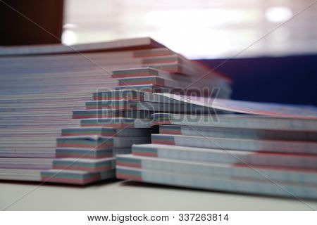 Stack of paperwork files document management concept: Applicant filing file of pile documents reports papers company documentation or pile bureaucracy on office stock photo