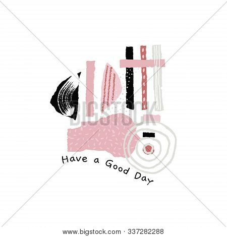 Compositions with torn paper decorated paint and ink spots. Different shapes with rough ribbed and jagged edges. Grunge texture. Applique of scraps with stains. Cover, card, label, poster. Vector stock photo