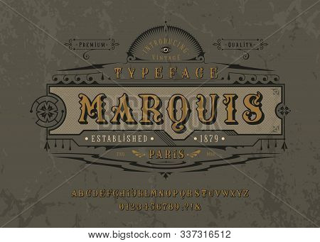 Font Marquise. Pop vintage art letters, numbers stock photo