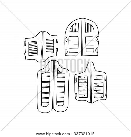 Traditional retro door saloon, vector illustration. Set wooden doors in tavern in wild west. Hallmarks saloon bat-shaped entrance doors. Pencil sketch stylish wooden door at entrance to institution. stock photo
