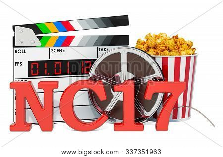 NC-17 Adults Only, film rating system concept. 3D rendering isolated on white background stock photo