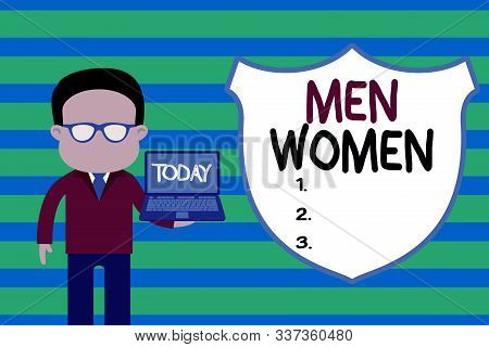 Conceptual hand writing showing Men Women. Business photo text The state where in a boy or a girl turns to be a mature adult Man in suit wearing eyeglasses holding open laptop photo Art. stock photo