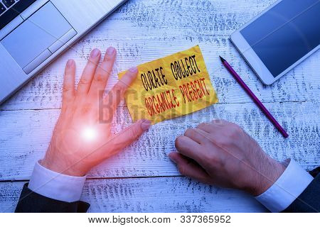 Handwriting text writing Curate Collect Organize Present. Concept meaning Pulling out Organization Curation Presenting. stock photo