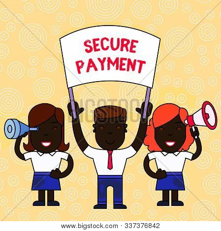 Word writing text Secure Payment. Business concept for Security of Payment refers to ensure of paid even in dispute People with Blank Banner, Megaphone and Spy Glass Peaceful Demonstration. stock photo