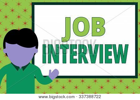 Handwriting text writing Job Interview. Concept meaning Assessment Questions Answers Hiring Employment Panel Young man standing in front whiteboard pointing to project. photo Art. stock photo