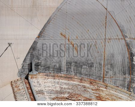 Hoover Dam spillway showing details of the concrete and other materials, Arizona and Nevada stock photo