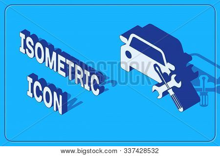 Isometric Car with screwdriver and wrench icon isolated on blue background. Adjusting, service, setting, maintenance, repair, fixing. Vector Illustration stock photo