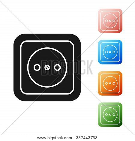 Black Diesel power generator icon isolated on white background. Industrial and home immovable power generator. Set icons colorful. Vector Illustration stock photo