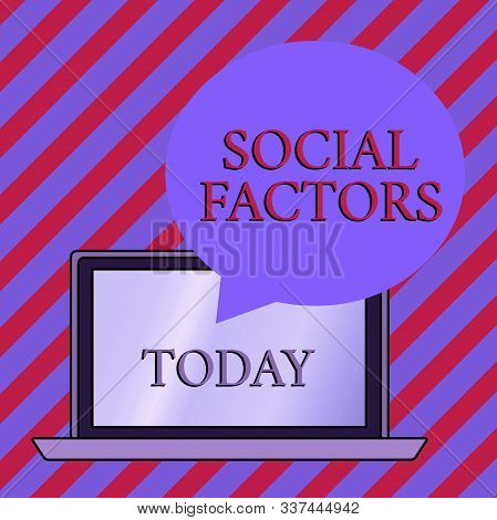 Conceptual hand writing showing Social Factors. Business photo showcasing Things that influences lifestyle Cultural Differences Round Shape Speech Bubble Floating Over Laptop Backdrop. stock photo
