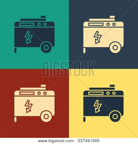 Color Portable power electric generator icon isolated on color background. Industrial and home immovable power generator. Vintage style drawing. Vector Illustration stock photo