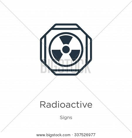 Radioactive symbol icon vector. Trendy flat radioactive symbol icon from signs collection isolated on white background. Vector illustration can be used for web and mobile graphic design, logo, eps10 stock photo