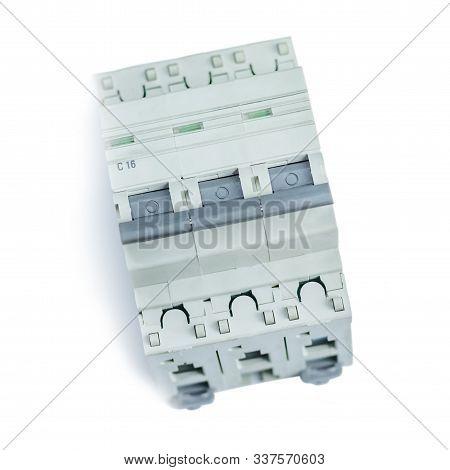 White background. automatic circuit breaker. circuit breaker. stock photo