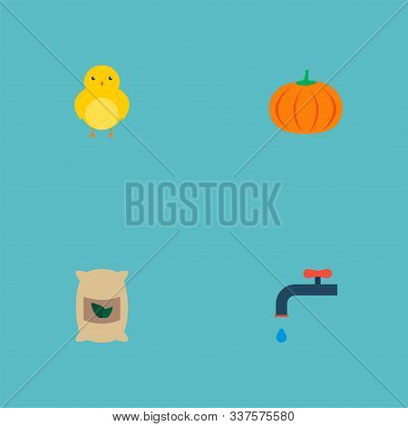Set of agricultural icons flat style symbols with chicken, irrigation, grown bags and other icons for your web mobile app logo design. stock photo